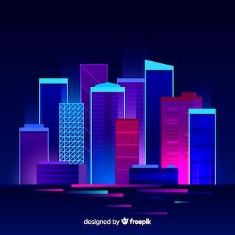 Fundo de cidade plana futurista noite