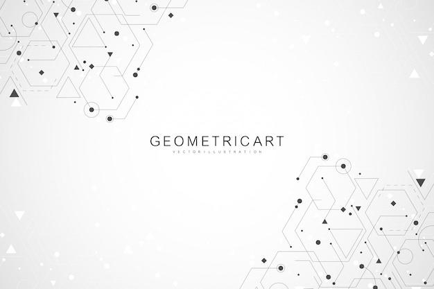 Fundo de ciência conectando linhas e pontos. estrutura abstrata futurista moderna da molécula do fundo.
