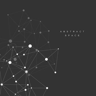 Fundo de ciência de linhas e pontos brancos de conexão