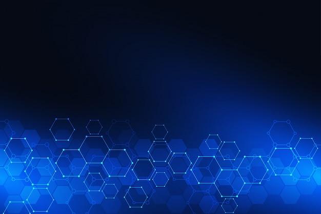 Fundo de ciência e tecnologia com padrão de hexágonos. fundo de alta tecnologia de estruturas moleculares e engenharia química.