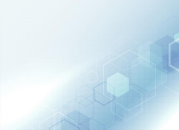 Fundo de ciência médica de saúde com formas hexagonais