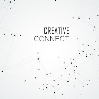 Fundo de ciência poligonal de tecnologia com pontos e linhas de conexão