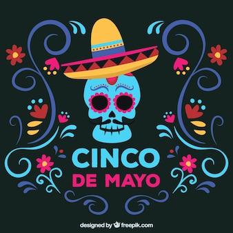 Fundo de cinco de maio com caveira mexicana
