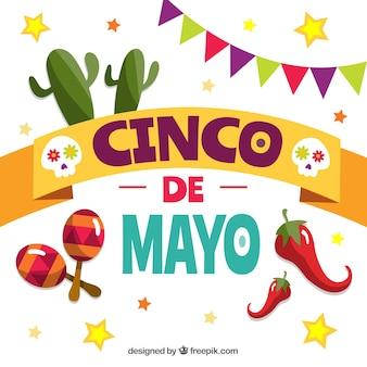 Fundo de cinco de mayo com elementos tradicionais