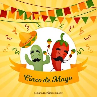 Fundo de cinco de mayo com pimentão engraçado