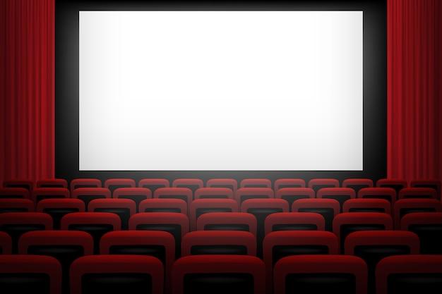 Fundo de cinema com cortinas e cadeiras vermelhas de tela branca.