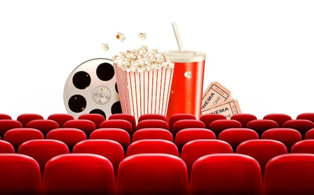 Fundo de cinema com rolo de filme, pipoca, bebida e ingressos.