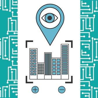 Fundo de circuito de cidade de navegação de localização de ponteiro
