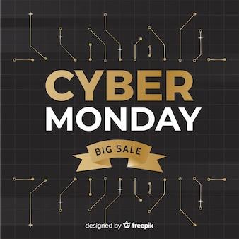 Fundo de circuitos de cyber segunda-feira dourada