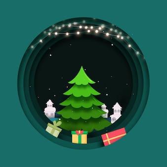 Fundo de círculo de corte de camada de papel verde decorado com guirlanda de iluminação