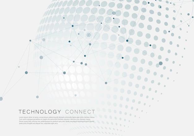 Fundo de círculo de meio-tom com molécula conectar