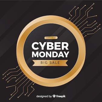 Fundo de círculo dourado cyber segunda-feira