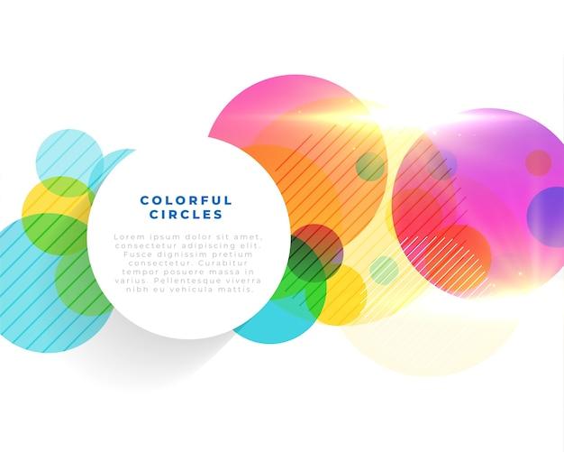 Fundo de círculos coloridos brilhantes com modelo de texto