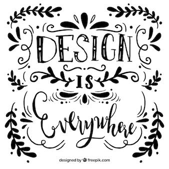 Fundo de citação de design gráfico com letras e ornamentos