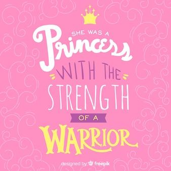 Fundo de citação de letras princesa rosa