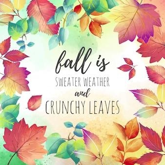Fundo de citação de outono bonito