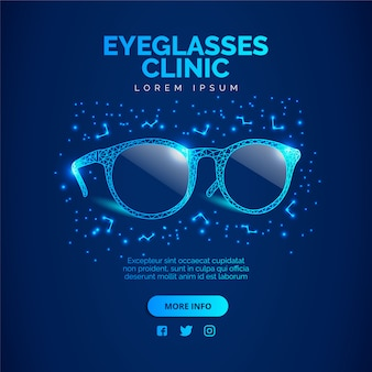 Fundo de clínica de óculos azuis. ilustração vetorial.