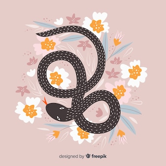 Fundo de cobra floral desenhada de mão