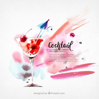 Fundo de cocktail de aquarela
