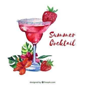 Fundo de cocktail de verão de aquarela