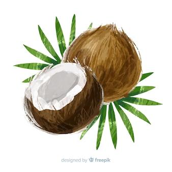 Fundo de coco em aquarela