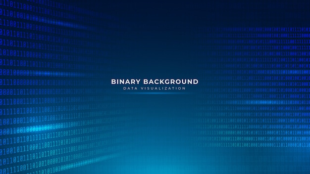 Fundo de código binário azul abstrato