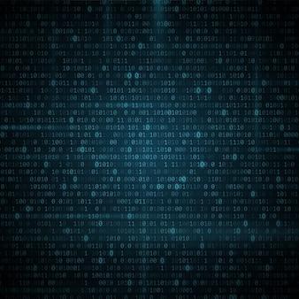 Fundo de código de programação binário brilhante abstrato. dados digitais. conceito de alta tecnologia.