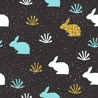 Fundo de coelho. coelho abstrato dourado, azul e branco para cartão, convite, álbum, álbum de recortes, papel de embrulho de feriado da páscoa, tecido têxtil, vestuário, etc. tema de animais de fazenda. textura de ouro.