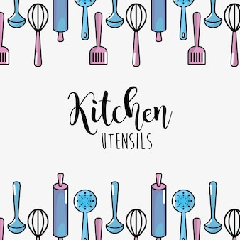 Fundo de coleção culinária de utensílios de cozinha