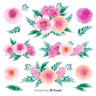 Fundo de coleção de buquê de flores desenhadas à mão