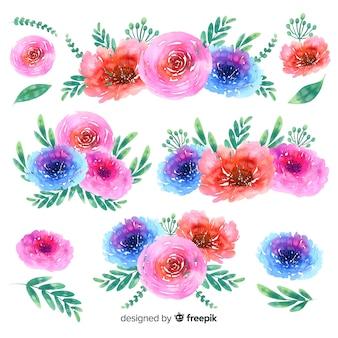 Fundo de coleção de buquê floral em aquarela