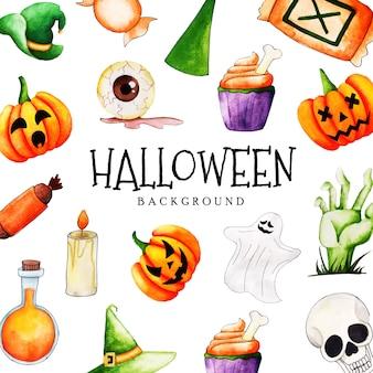Fundo de coleção de elementos de halloween aquarela
