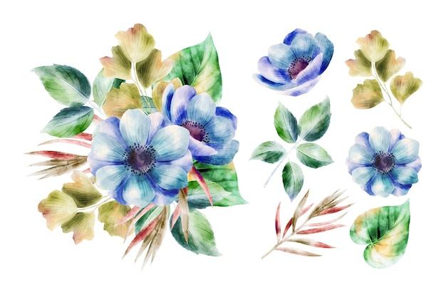 Fundo de coleção de flores em aquarela