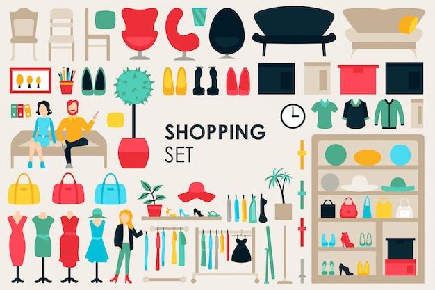 Fundo de coleção grande de compras