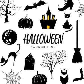 Fundo de coleção mão desenhada halloween elementos