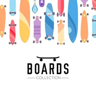 Fundo de coleção skate e skate com skates
