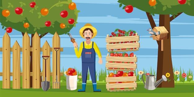 Fundo de colheita de jardineiro