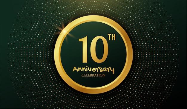 Fundo de comemoração de aniversário dourado 10 anos