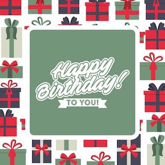 Fundo de comemoração de cartão feliz aniversário com moldura de caixas de presente