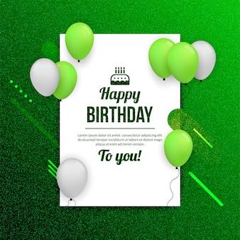 Fundo de comemoração de festa de aniversário com balão realista