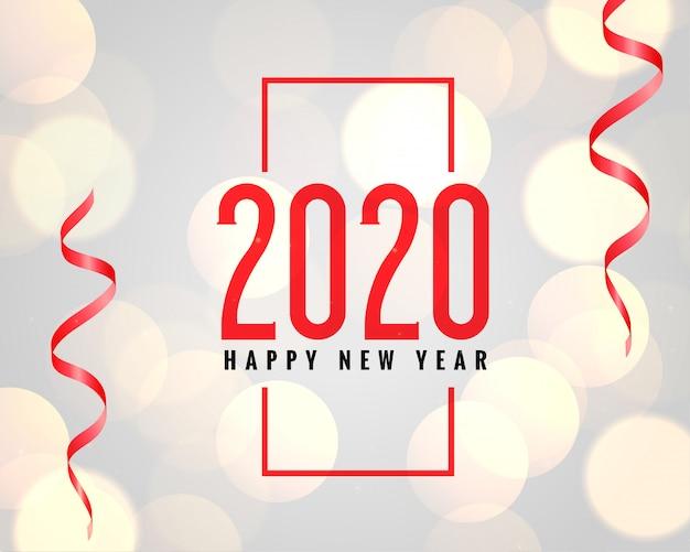 Fundo de comemoração do ano novo de 2020 com efeito bokeh