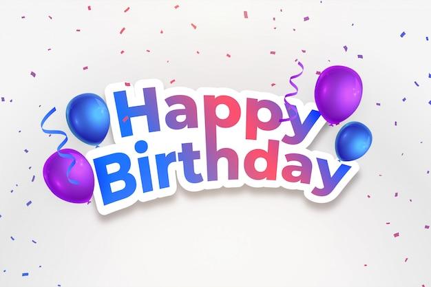 Fundo de comemoração feliz aniversário com confetes caindo