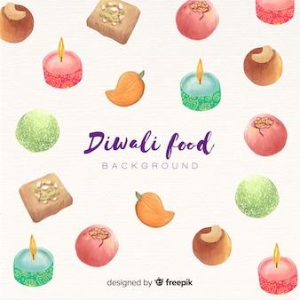 Fundo de comida aquarela diwali