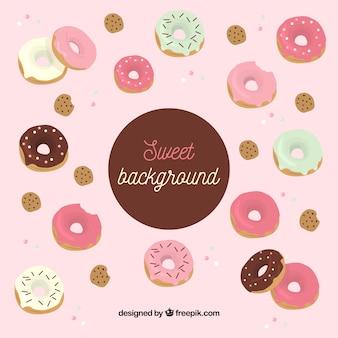 Fundo de comida com deliciosos donuts
