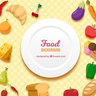 Fundo de comida com design plano