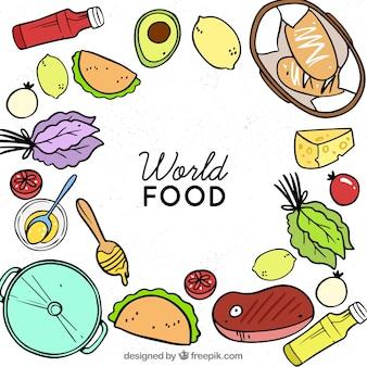 Fundo de comida com estilo desenhado de mão