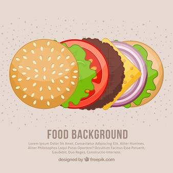 Fundo de comida com ingredientes de hambúrguer