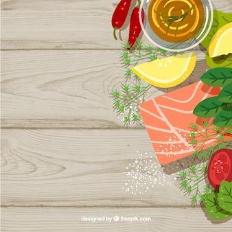 Fundo de comida com legumes e salmão