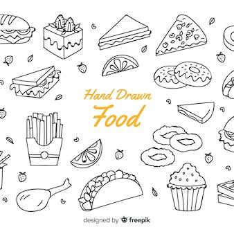 Fundo de comida de mão desenhada