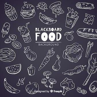 Fundo de comida de quadro-negro